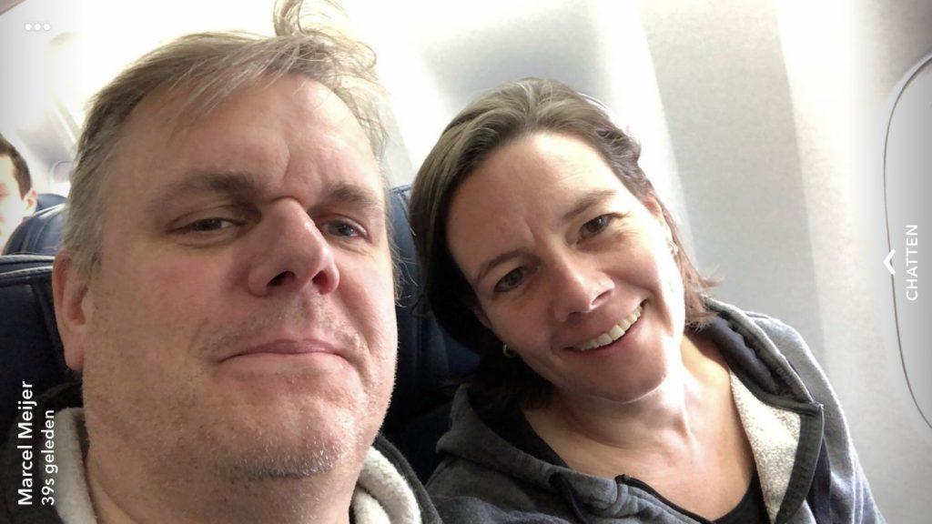 onderweg in het vliegtuig naar Orlando