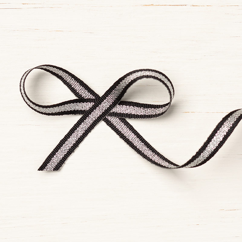 Black/Silver Striped Metallic Ribbon