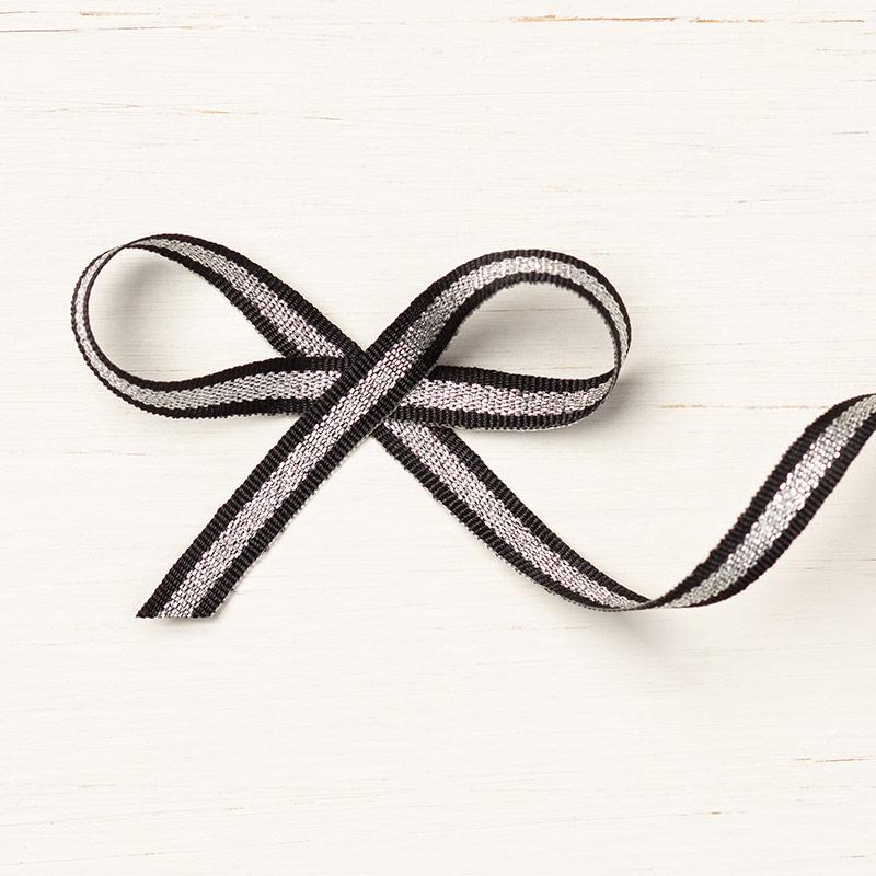 Black/Silver Striped Metallic Ribbon