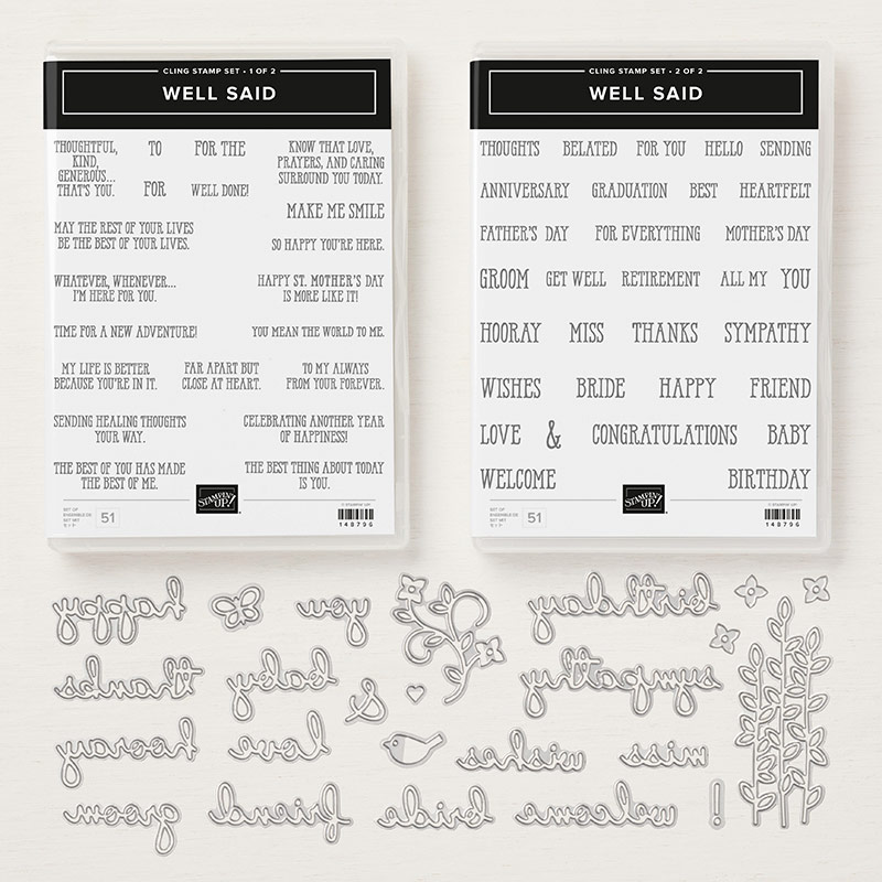 Well Said stamp set en Well Written Framelits Dies stampin up