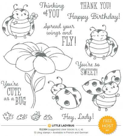 Little Lady Bug Cling stamp set minicatalogus en Sale-A-Bration brochure