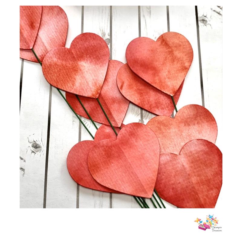 watercolor harten bloemstekers, stampin treasure