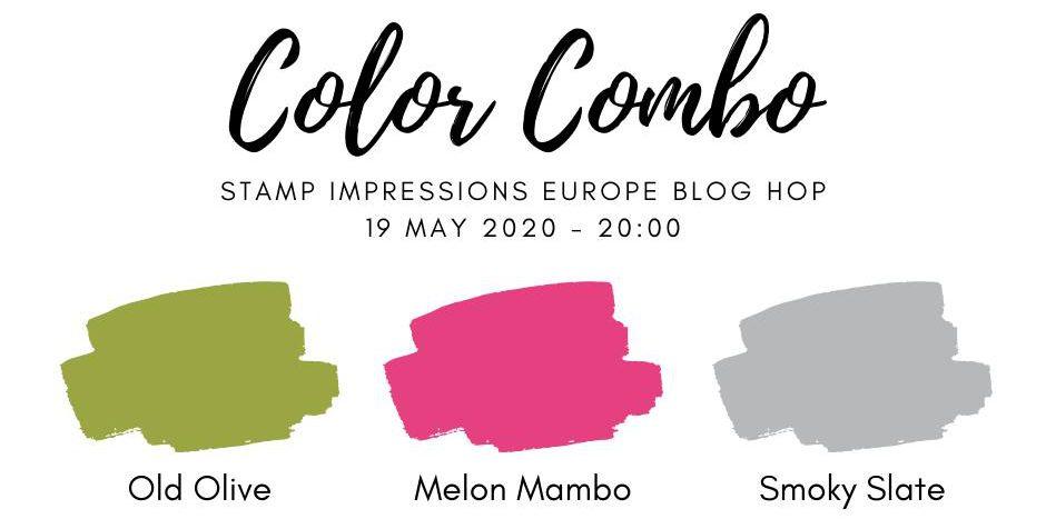 old olive, melon mambo, smoky slate, color combo, stampin up, blog hop, stamp, impressions