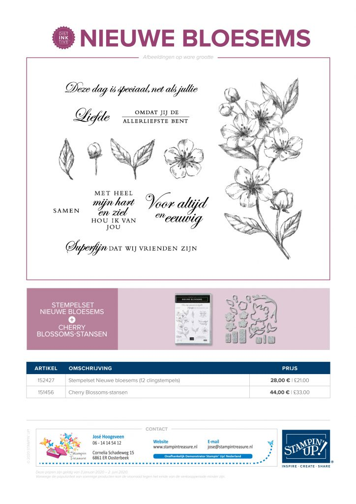 nieuwe bloesems, forever blossoms, stampin up, stampin treasure