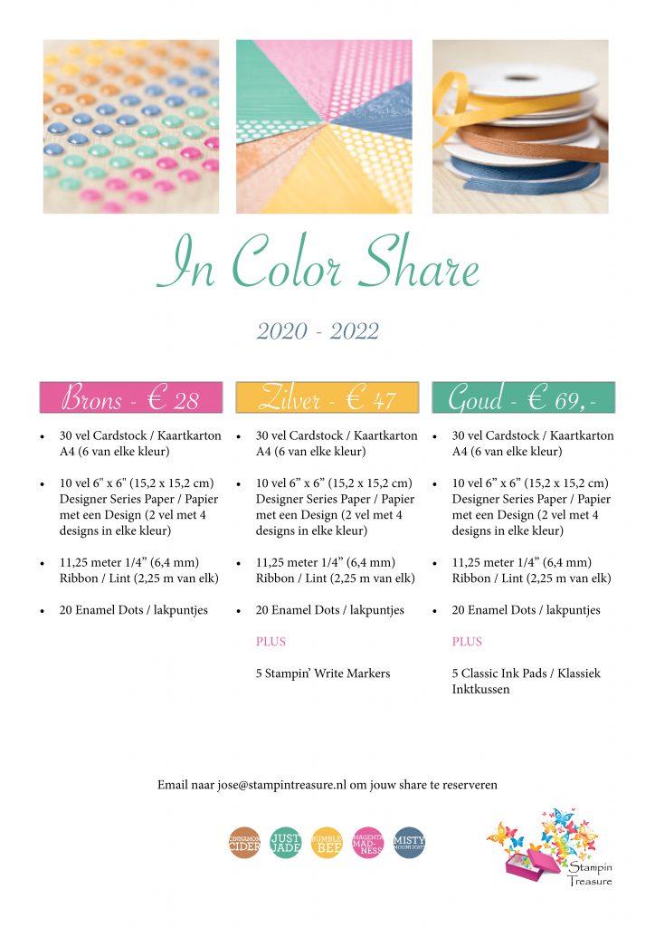 in color, share, samen delen, stampin up, stampin treasure, kleuren